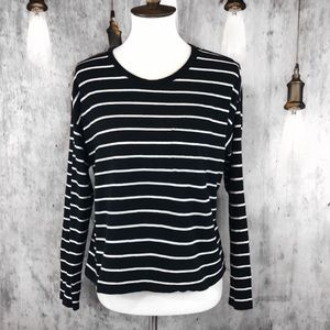 Everlane Cropped Striped Pocket Tee size M